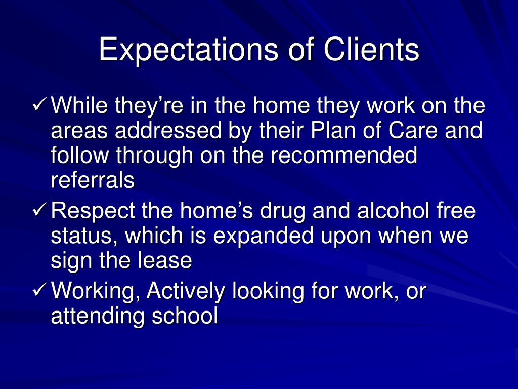 Expectations of Clients