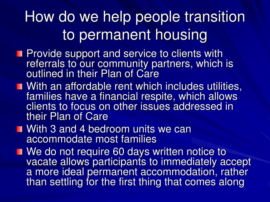 How do we help people transition to permanent housing