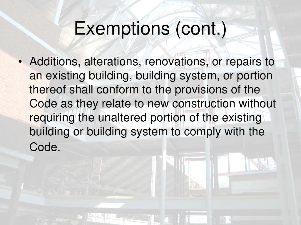Exemptions (cont.)