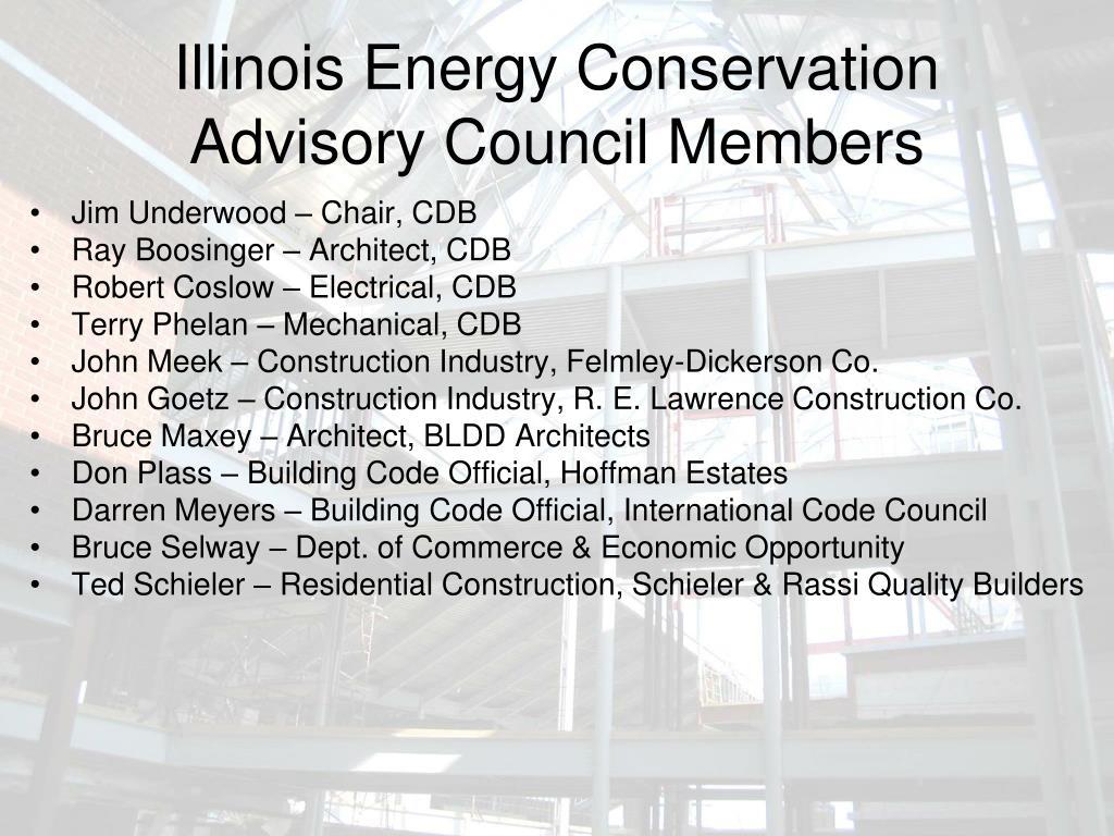 Illinois Energy Conservation Advisory Council Members