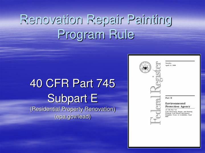 Renovation repair painting program rule2