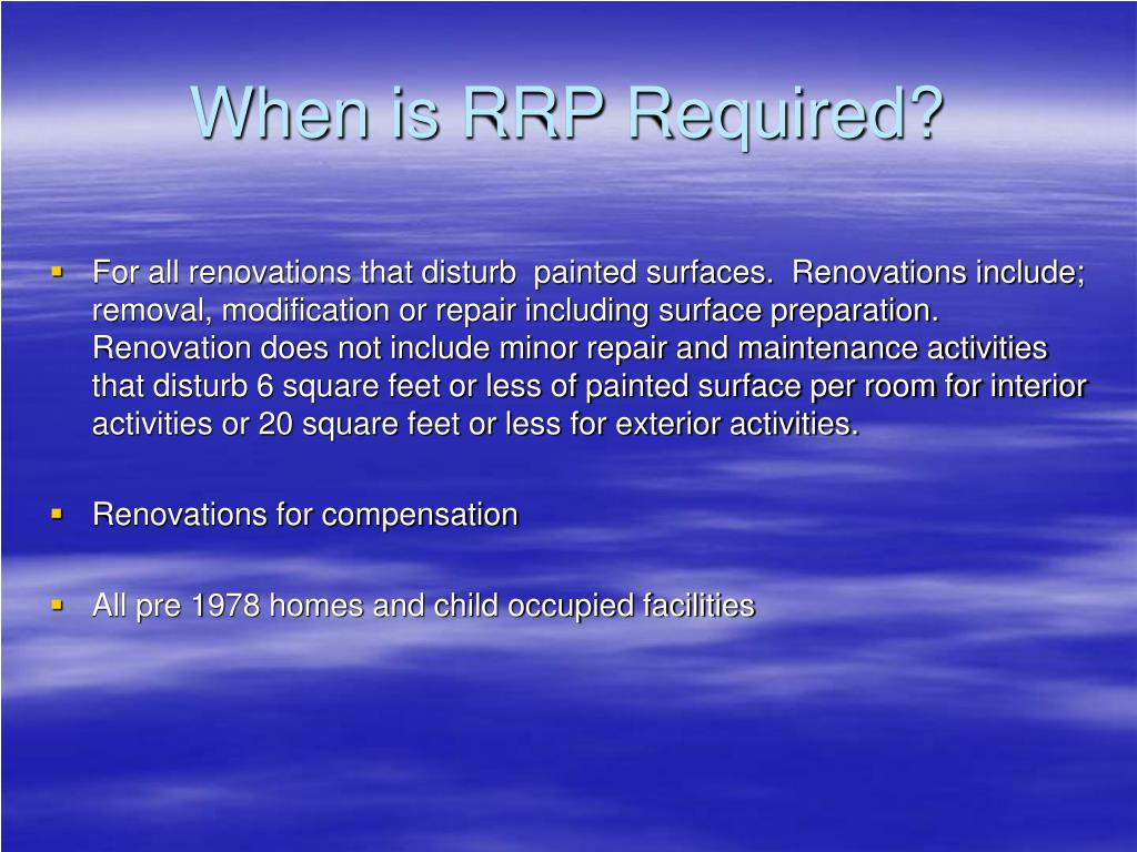 When is RRP Required?
