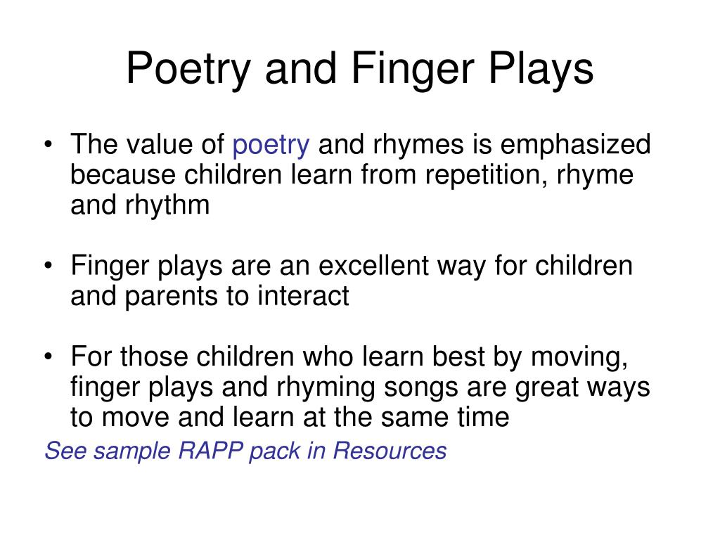 Poetry and Finger Plays