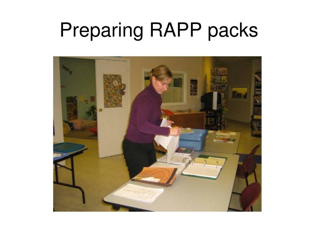 Preparing RAPP packs