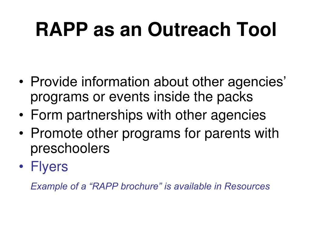 RAPP as an Outreach Tool