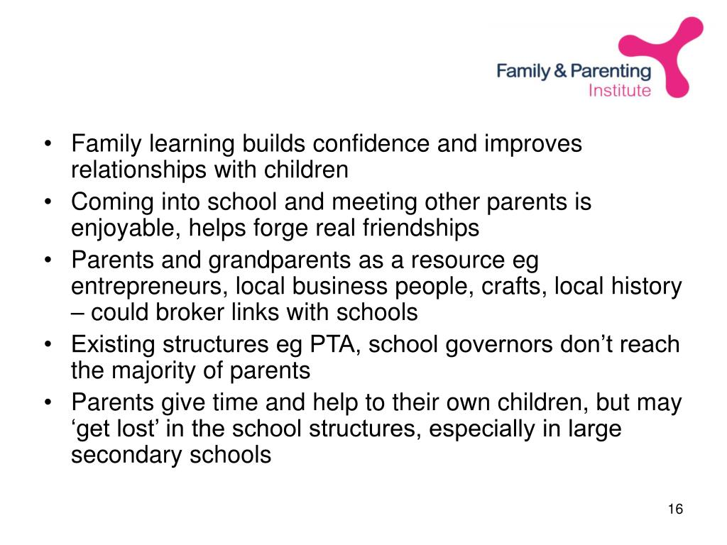 Family learning builds confidence and improves relationships with children