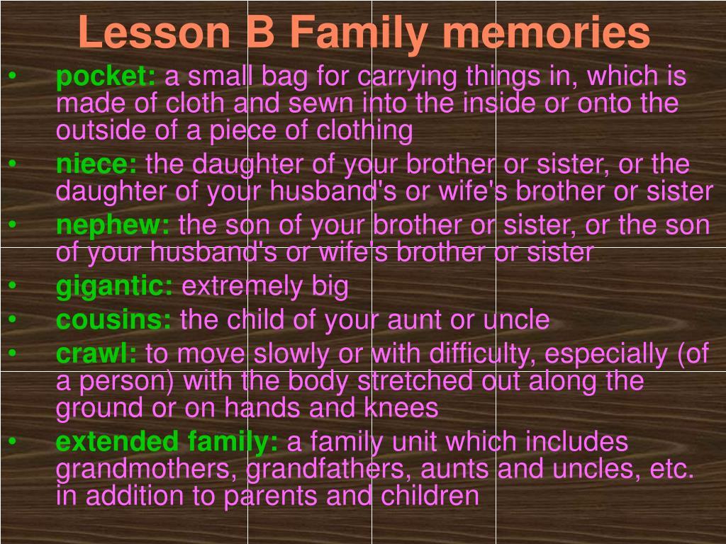 Lesson B Family memories