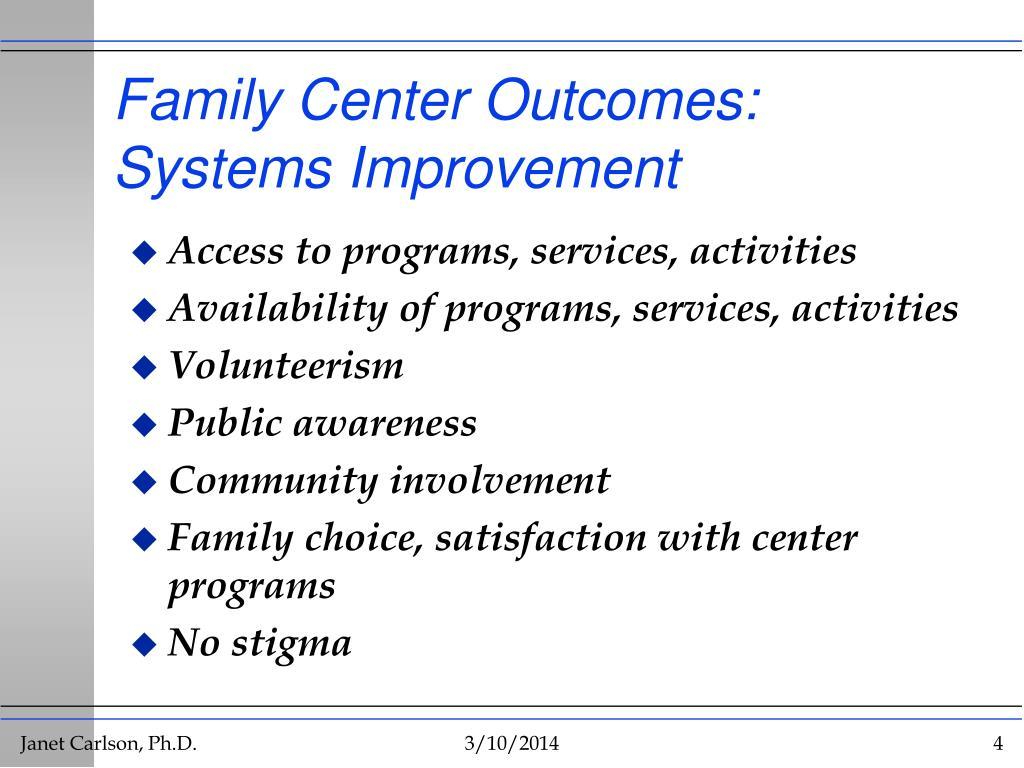 Family Center Outcomes: