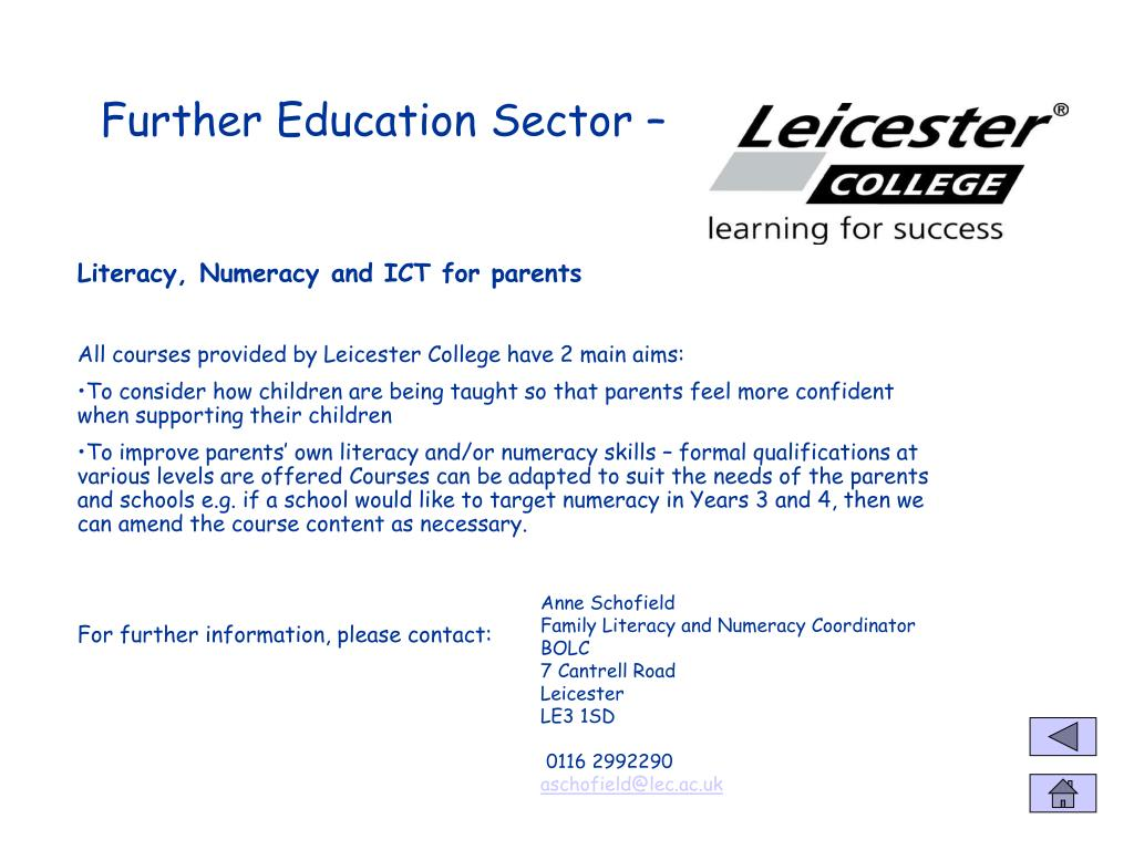 Further Education Sector –