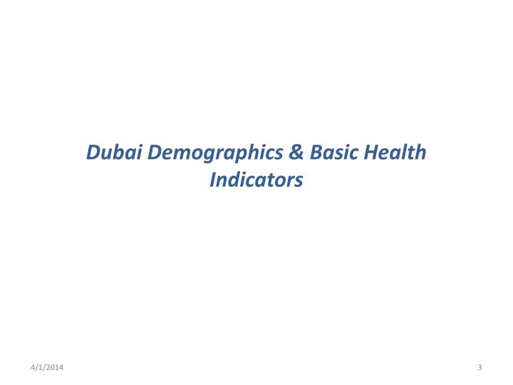 Dubai demographics basic health indicators