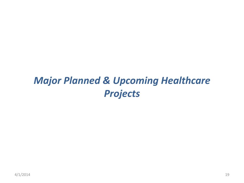 Major Planned & Upcoming Healthcare Projects