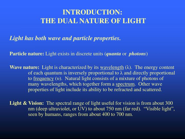 Introduction the dual nature of light
