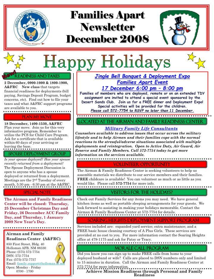 Families apart newsletter december 2008