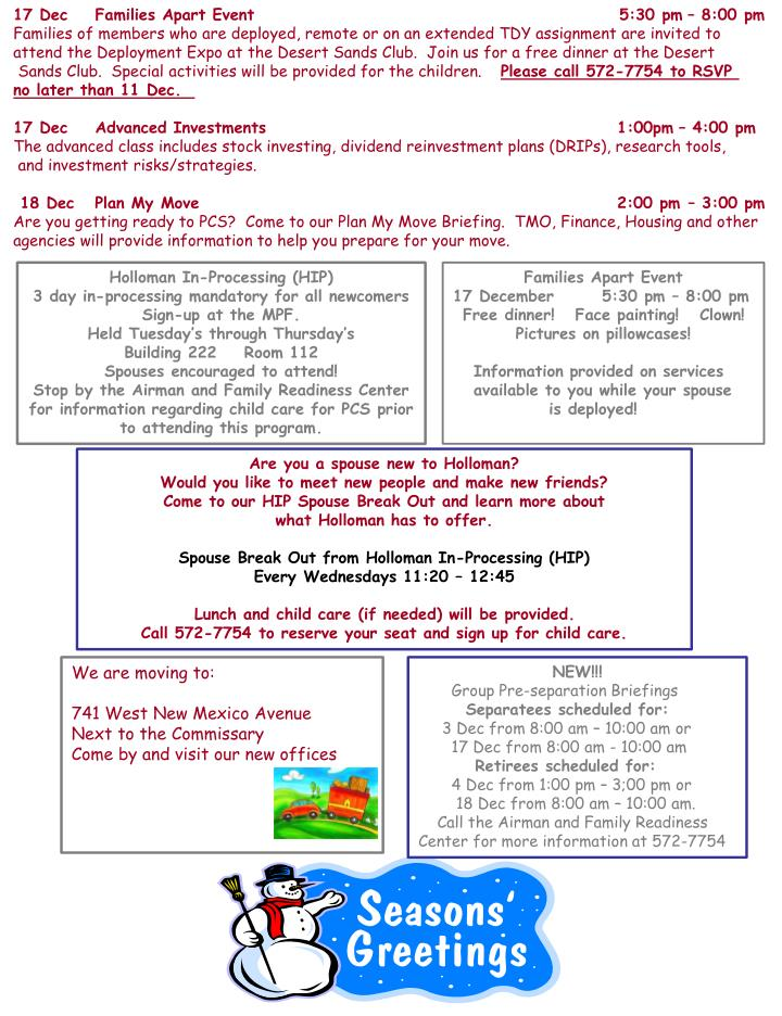 17 Dec    Families Apart Event                                                     5:30 pm – 8:00 ...