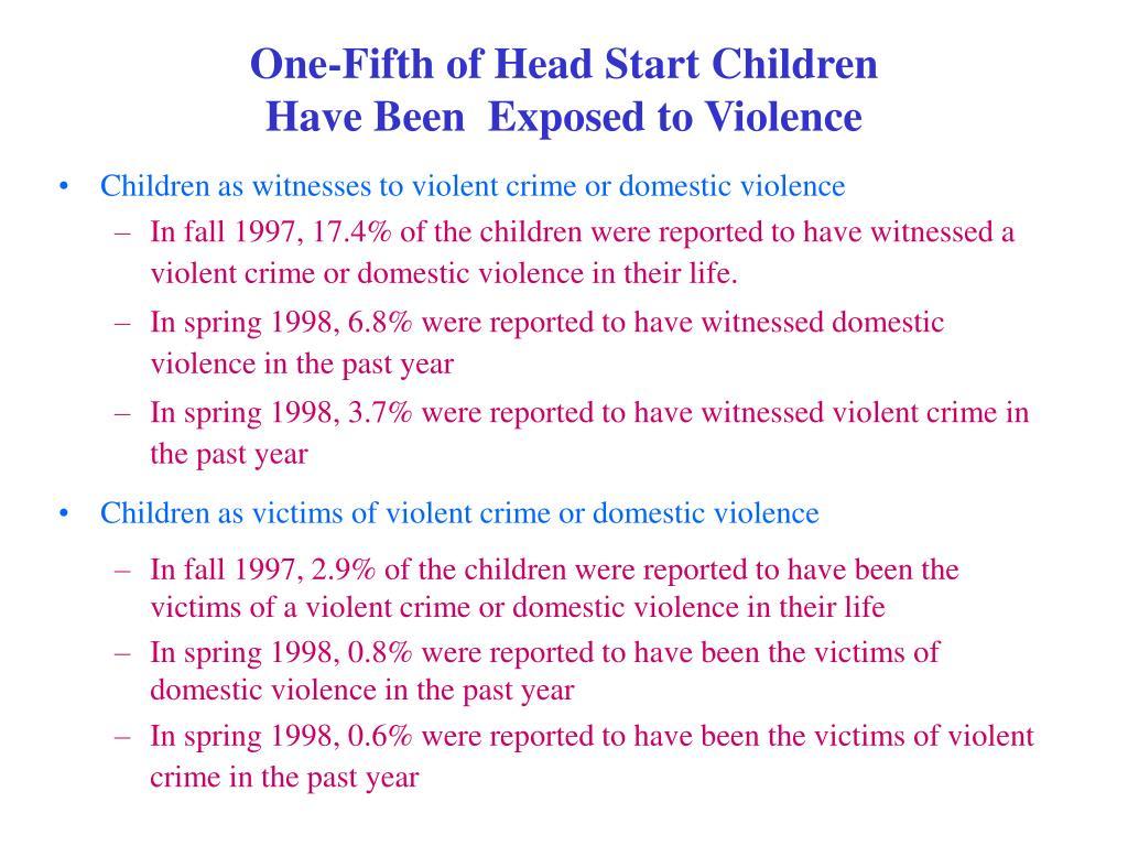 One-Fifth of Head Start Children