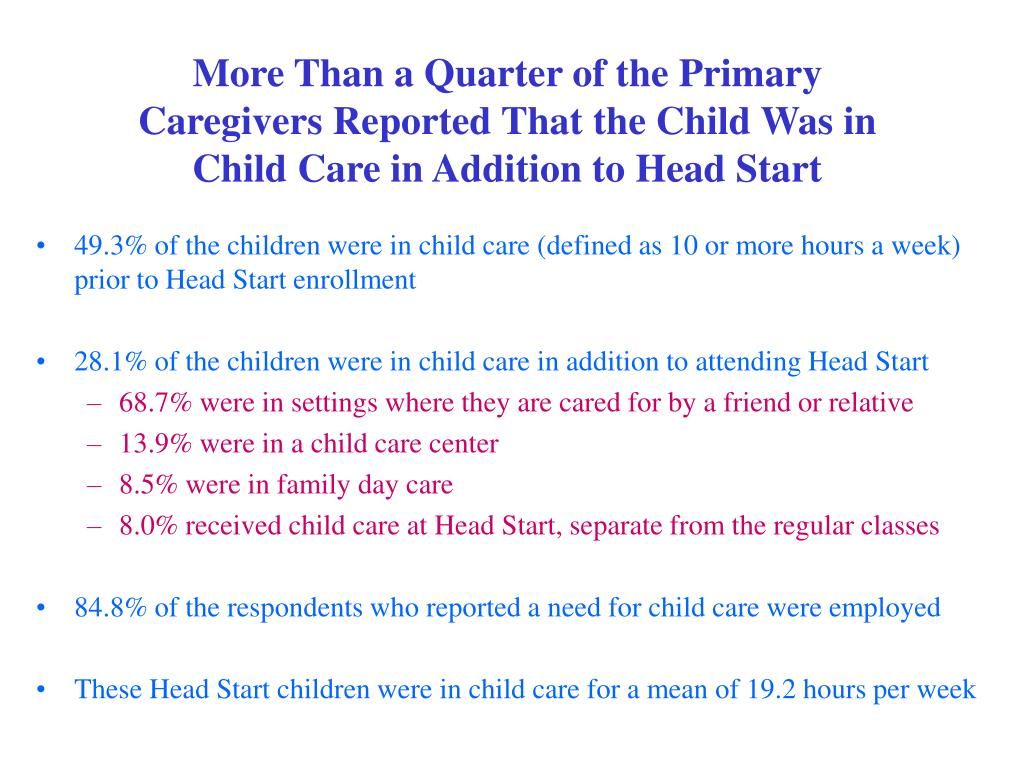 More Than a Quarter of the Primary Caregivers Reported That the Child Was in Child Care in Addition to Head Start