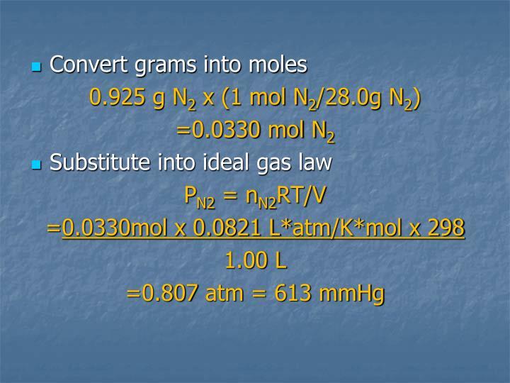 Convert grams into moles