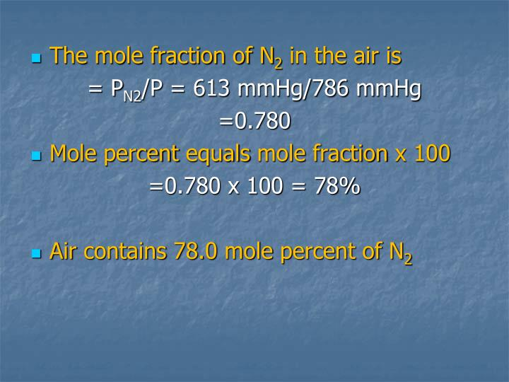 The mole fraction of N
