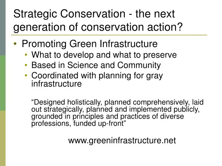 Strategic Conservation - the next generation of conservation action?