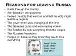 reasons for leaving russia