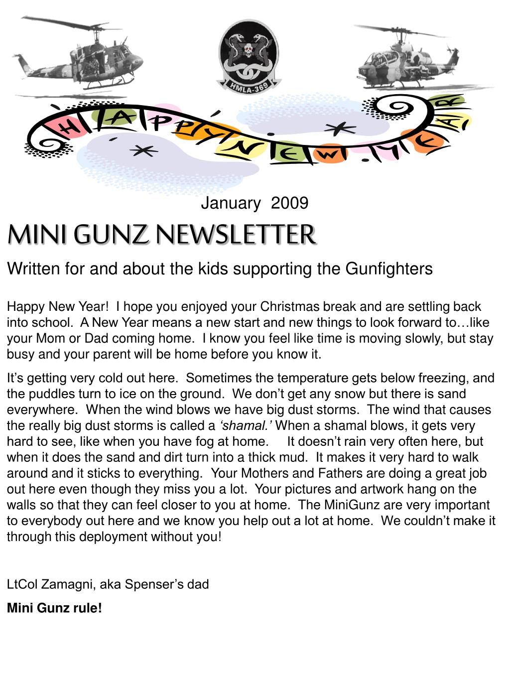 january 2009 mini gunz newsletter written for and about the kids supporting the gunfighters l.