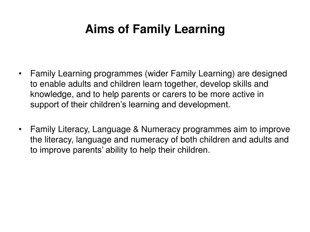Aims of Family Learning