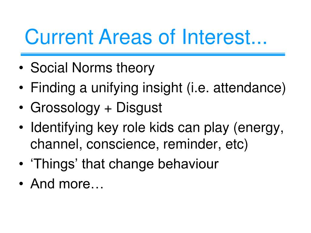 Current Areas of Interest...