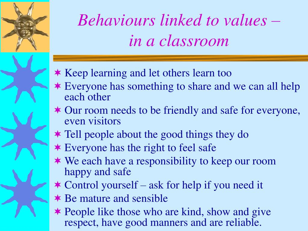 Behaviours linked to values –
