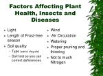 factors affecting plant health insects and diseases