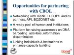 opportunities for partnering with cbol