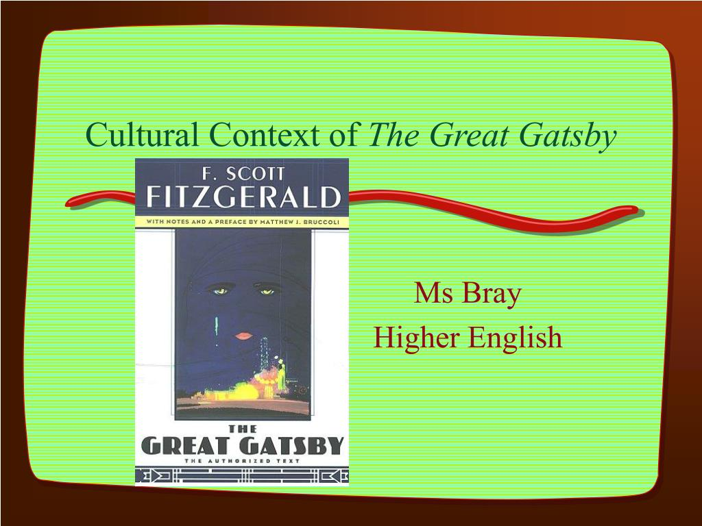 cultural context of the great gatsby