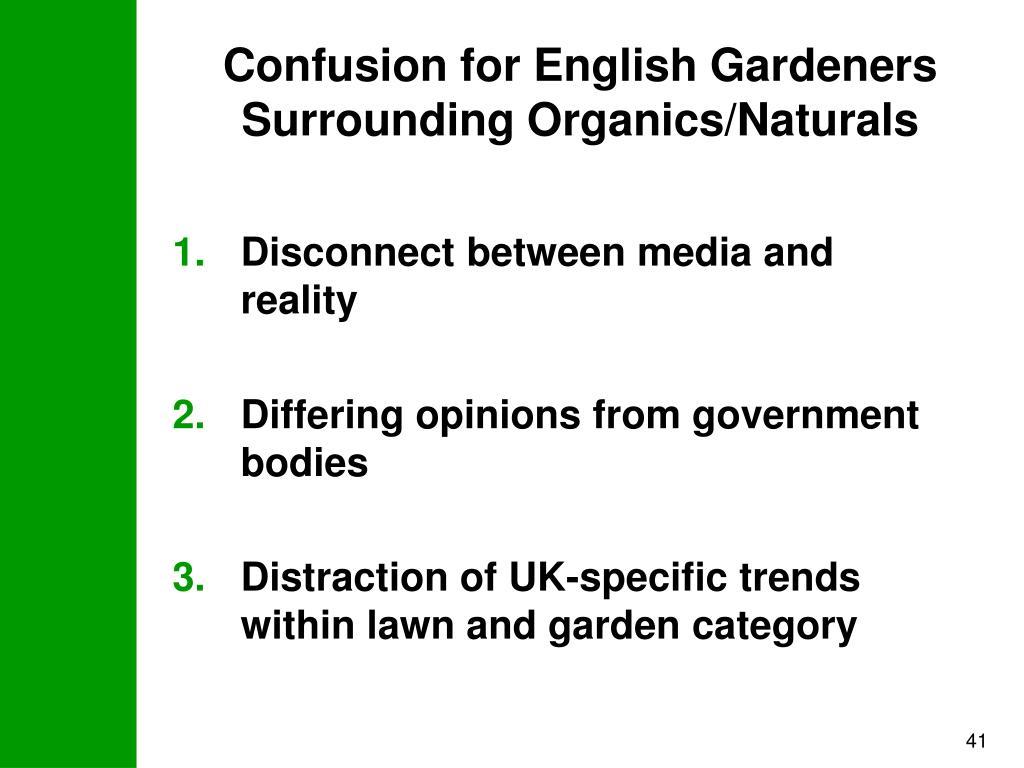 Confusion for English Gardeners Surrounding Organics/Naturals