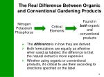 the real difference between organic and conventional gardening products