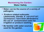 maintaining the garden water safety