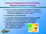 outreach education for food safety master gardener training