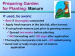 preparing garden for planting manure