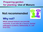 preparing garden for planting use of manure