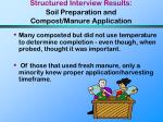 structured interview results soil preparation and compost manure application
