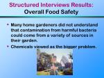 structured interviews results overall food safety