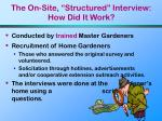 the on site structured interview how did it work