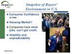snapshot of buyers environment in u s