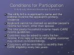 conditions for participation individually metered residential customer