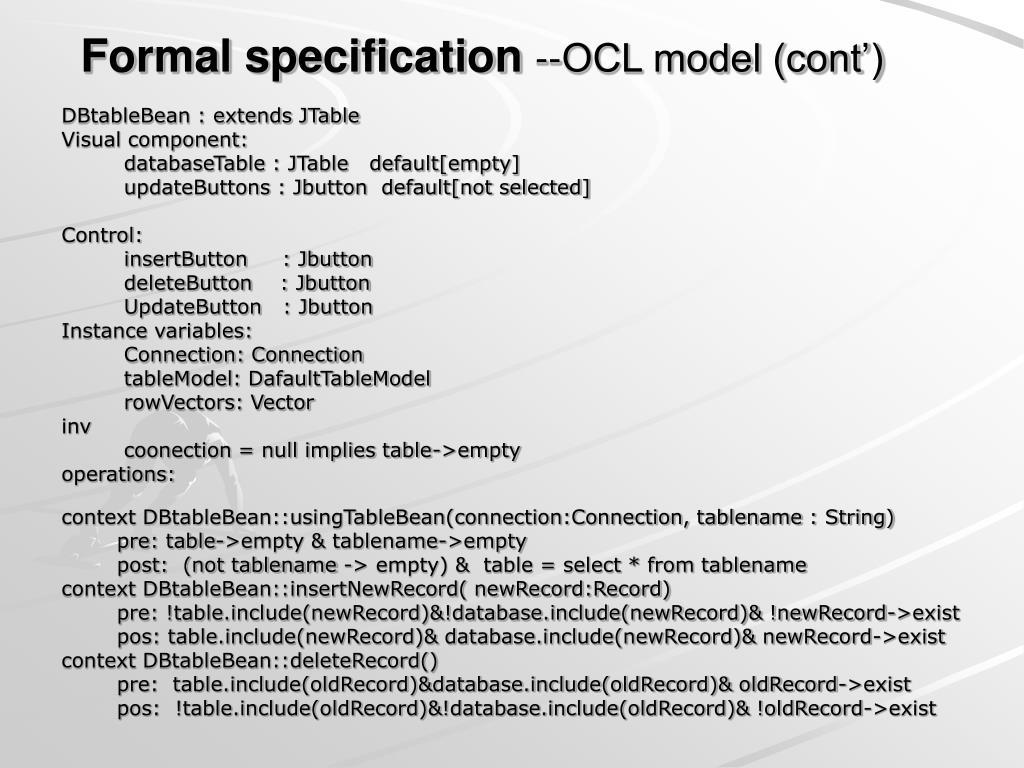 Formal specification
