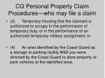 cg personal property claim procedures who may file a claim