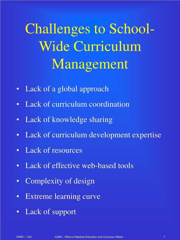 Challenges to School-Wide Curriculum Management