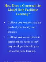 how does a constructivist model help facilitate learning