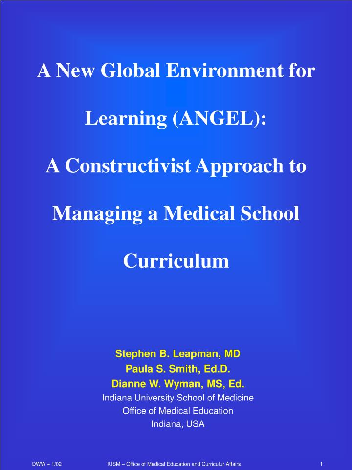 A New Global Environment for Learning (ANGEL):