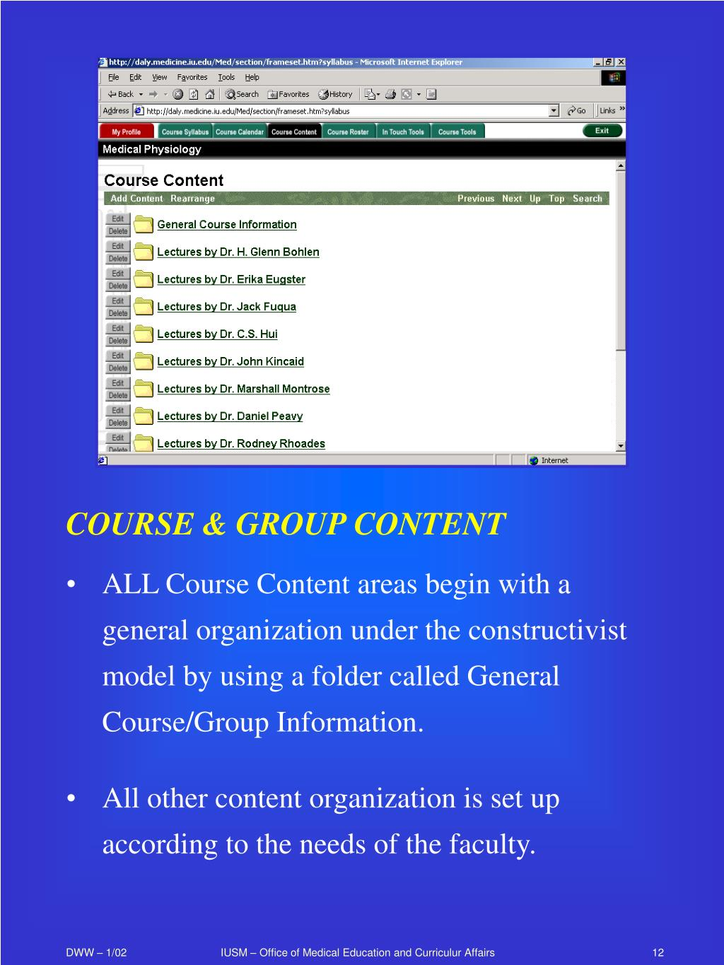 COURSE & GROUP CONTENT