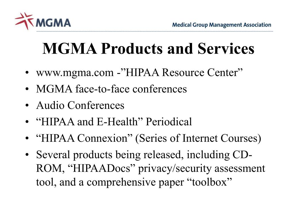 MGMA Products and Services