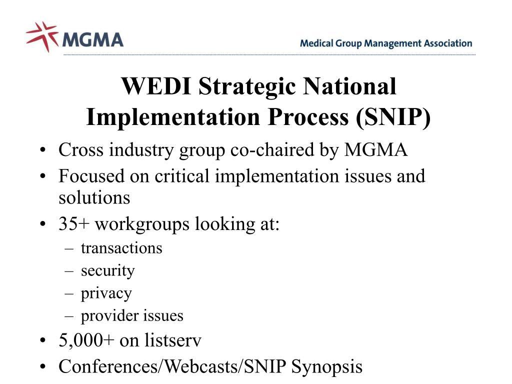 WEDI Strategic National Implementation Process (SNIP)